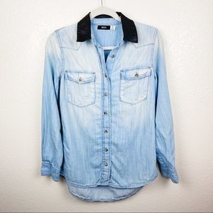 BDG chambray button up with faux leather collar